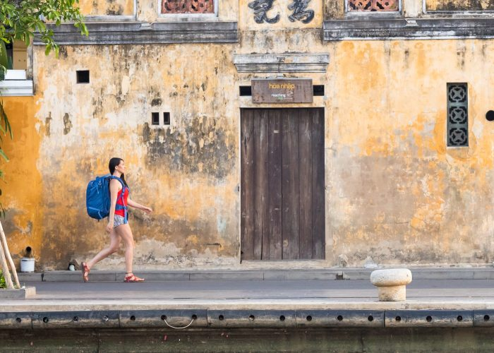Girl wearing the Osprey Ozone Duplex backpack in Vietnam
