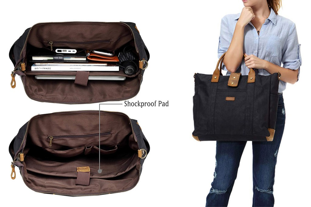 VASCHY water-resistant waxed canvas laptop tote