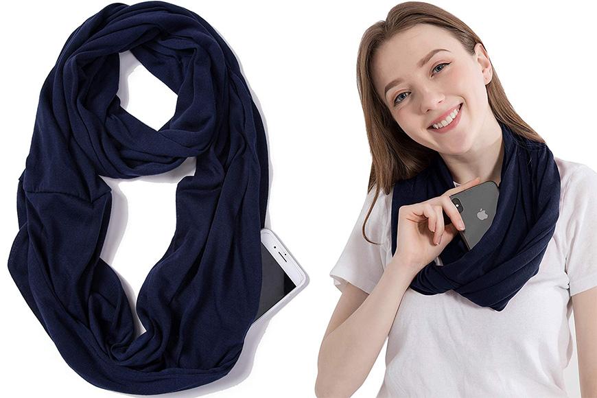Elzama infinity scarf with hidden zipper pocket