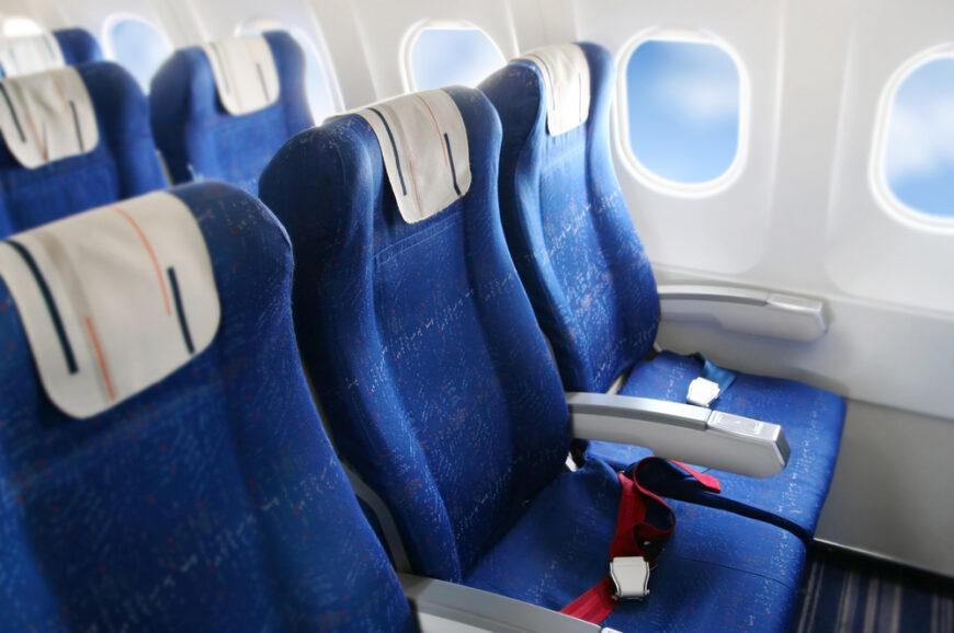 row of airplane seats.