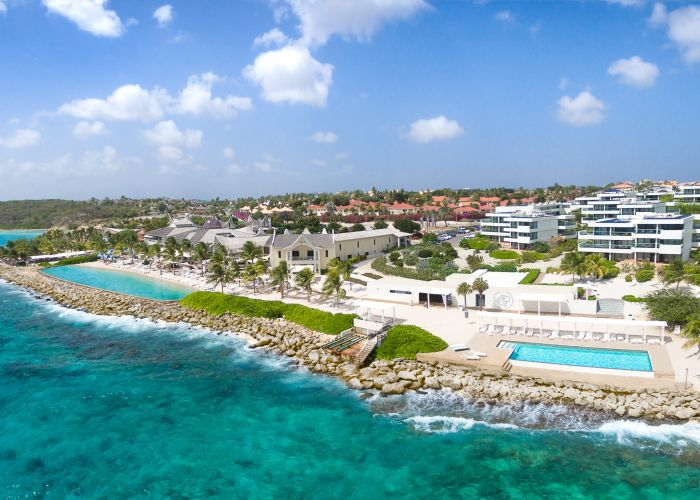 aerial view of resort and hotel on caribbean island