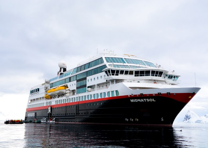 Hurtigruten Midnatsol Cruise Ship in Antarctica