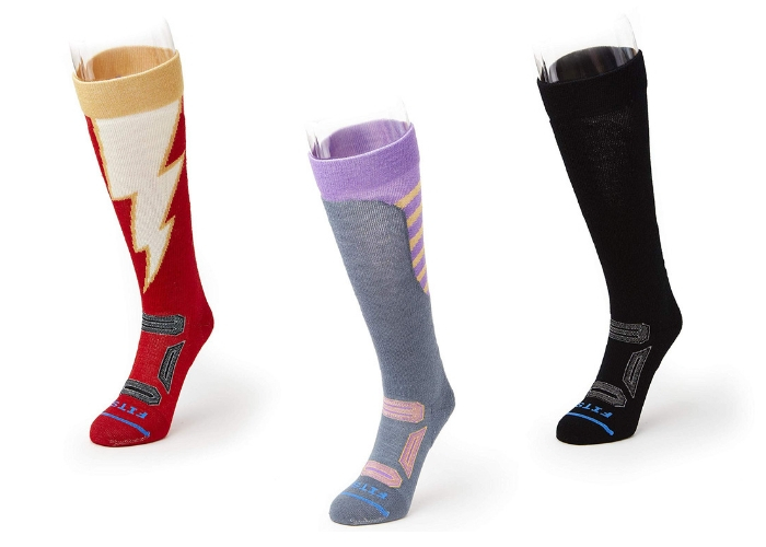 red and white sock, purple gray black sock