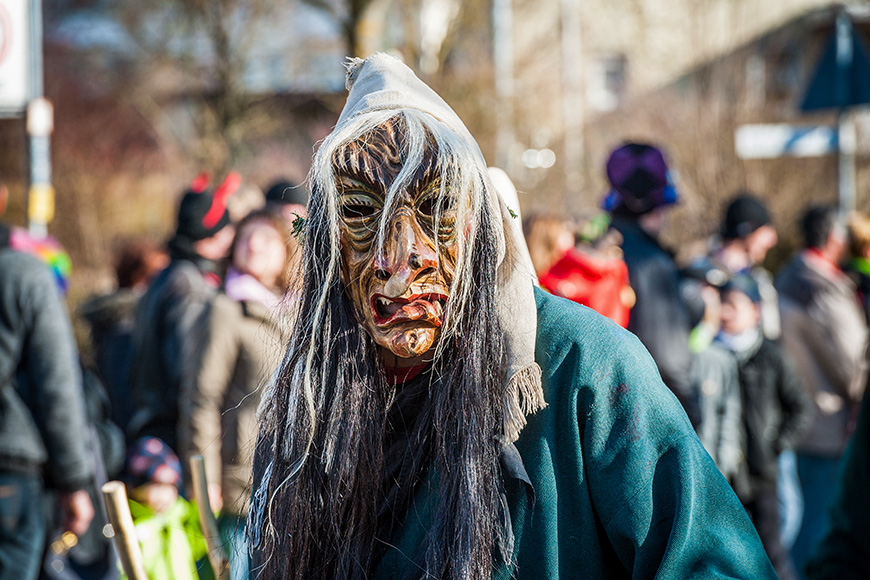 local carnival parade with traditional wooden masks also known as swabian-alemannic fastnacht. - image