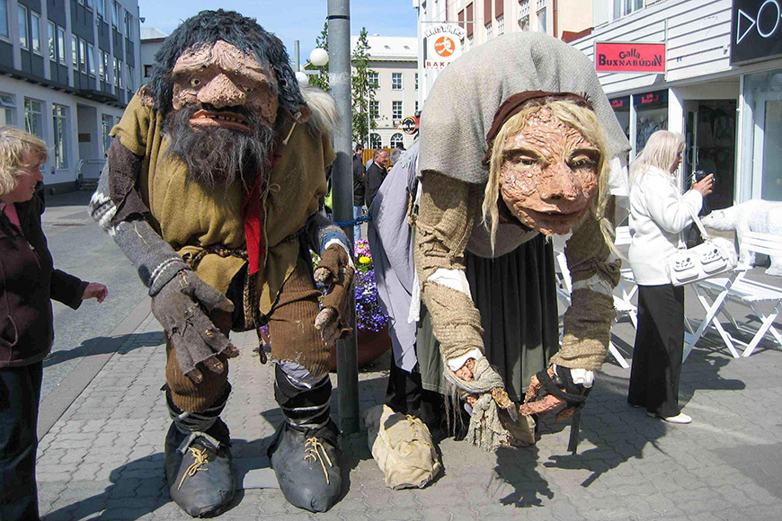 folklore figures on the main street of akureyri, iceland gryla and her husband