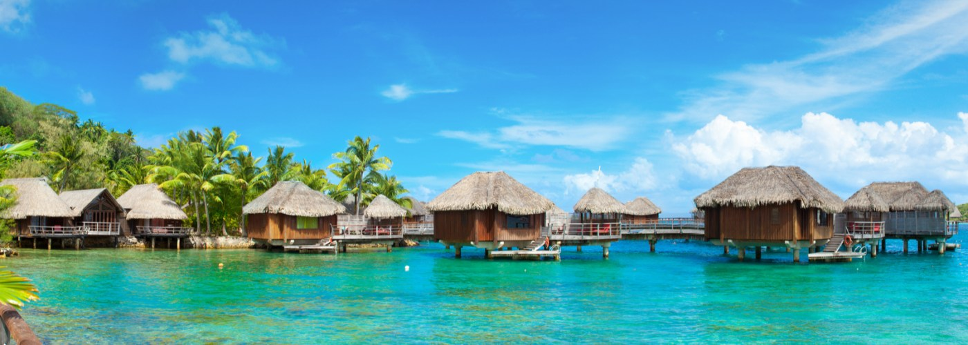 Panoramic Photo of Bora Bora resort, Tahiti, French Polynesia