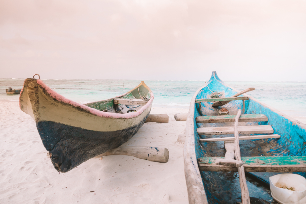 Boats on beach san blas island