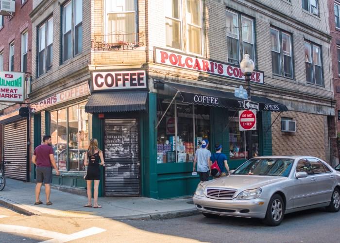 Customers walking into polcari's coffee shop