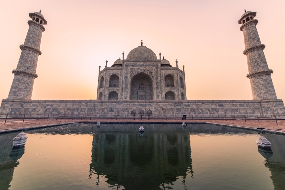 Reflection of the taj mahal at sunrise