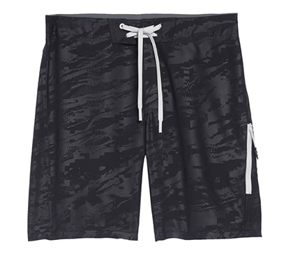Black and grey board shorts for men