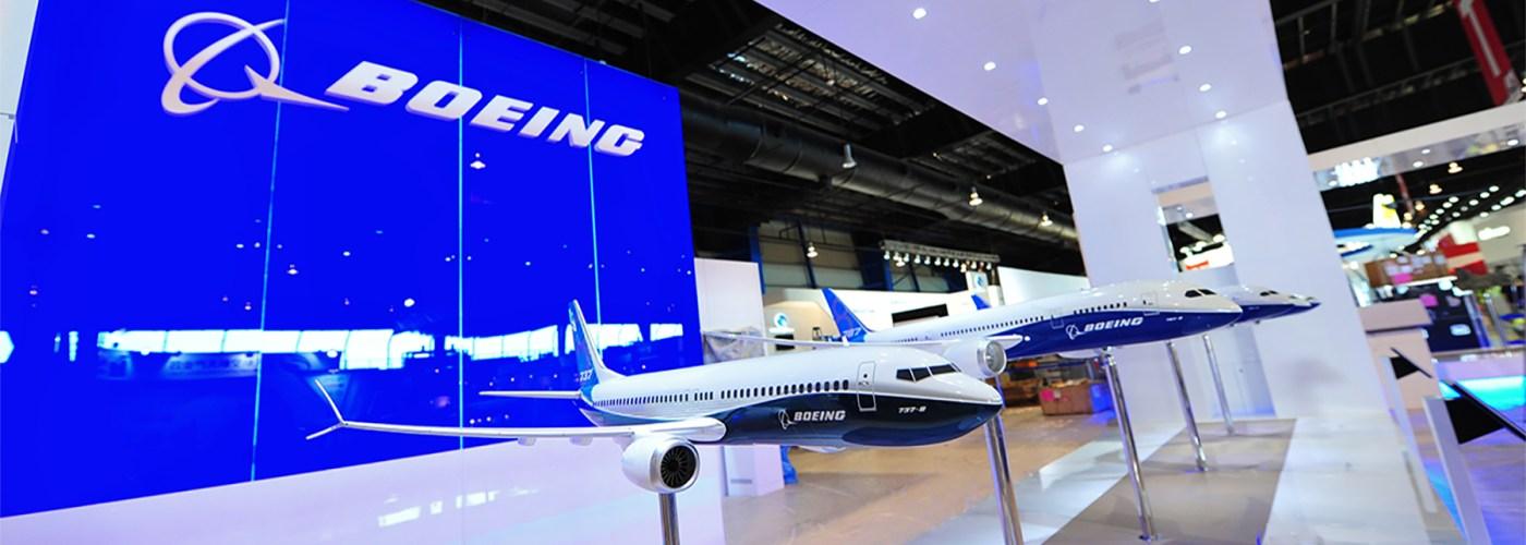 Boeing headquarters display of Boeing 737 plane model