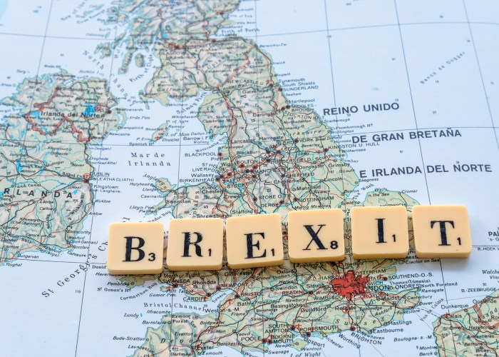 Brexit tiles on map of United Kingdom