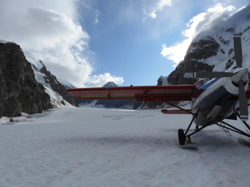 Talkeetna air taxi plane on glacier valdez alaska