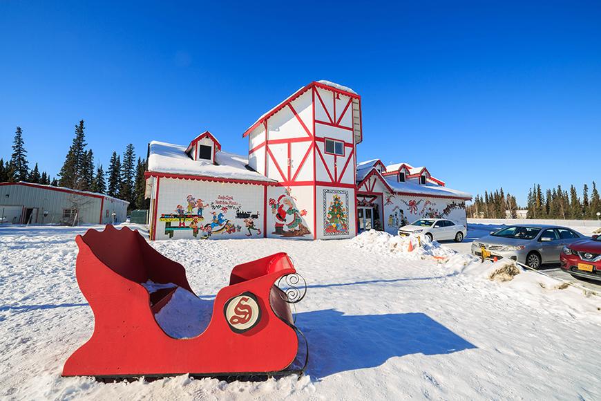 santa's house and sleigh in north pole alaska.