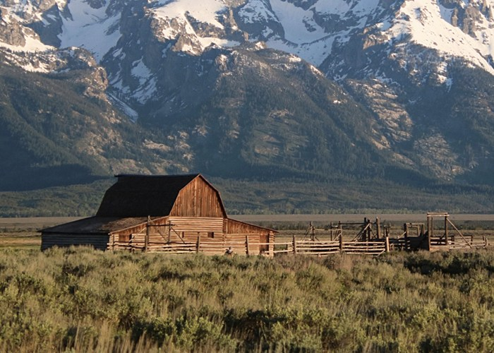 Mormon Row barn and Grand Teton National Park mountains in Jackson Hole, Wyoming.