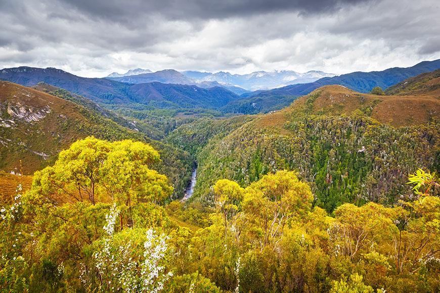 franklin gordon wild rivers national park mountain view.
