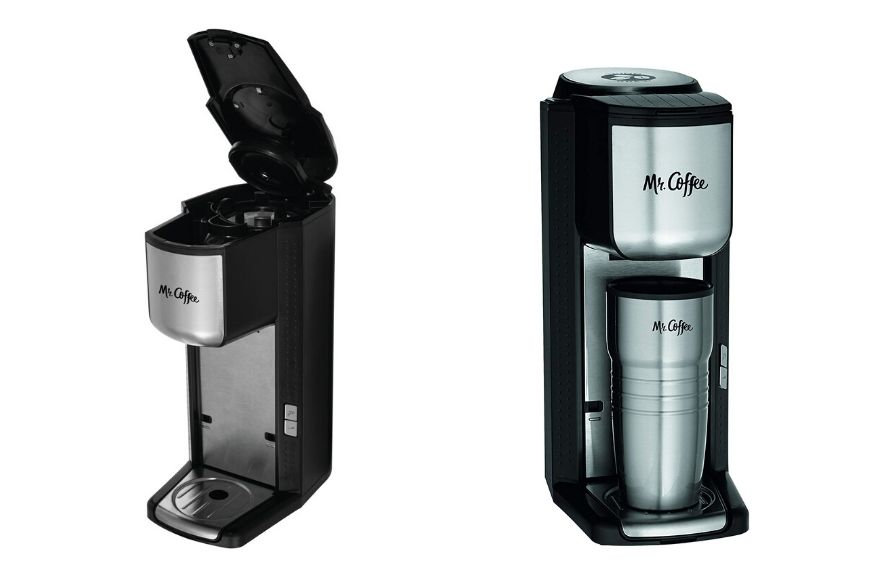 Mr. coffee's single cup coffee maker with travel mug and grinder.