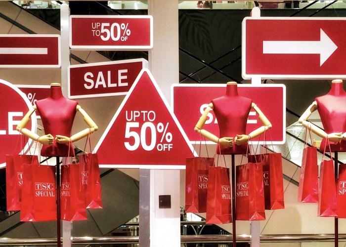window display showing sales