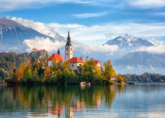 lake bled church slovenia.