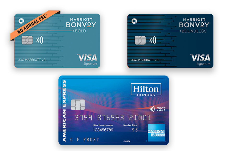 marriot bold and bonvoy, hilton credit cards