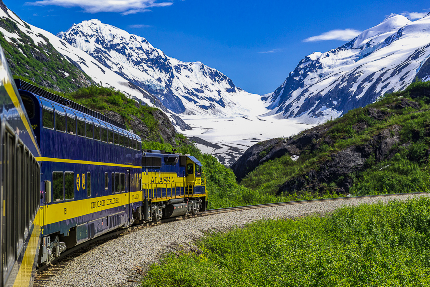 The Alaska Railroad's Glacier Discovery Train approaches Bartlett Glacier in the Chugach Mountains and the Grandview area.