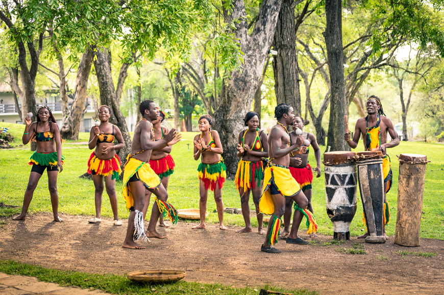 local people performing traditional ethnic folkloristic dance in Zimbabwe