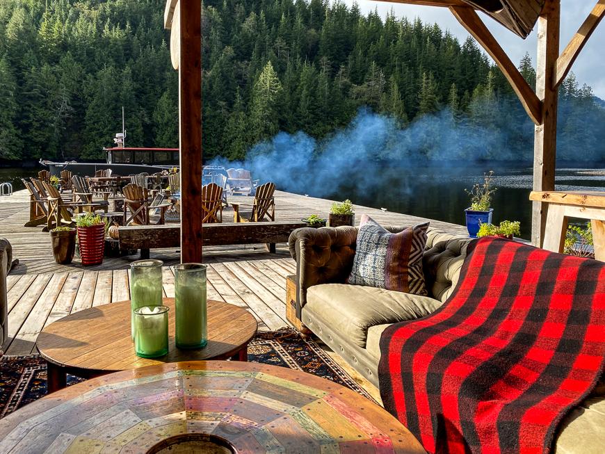 mornign campfire at nimmo bay resort