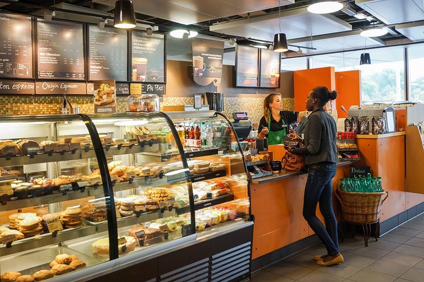 Starbucks cafe interior on September 11, 2014 in Geneva, Switzerland