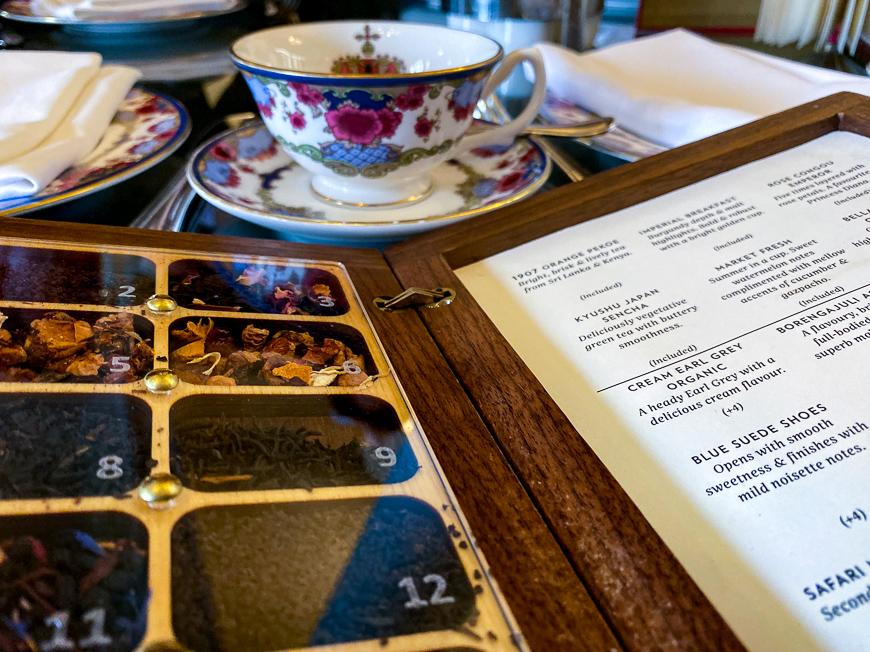 tea at tea room with tea cup