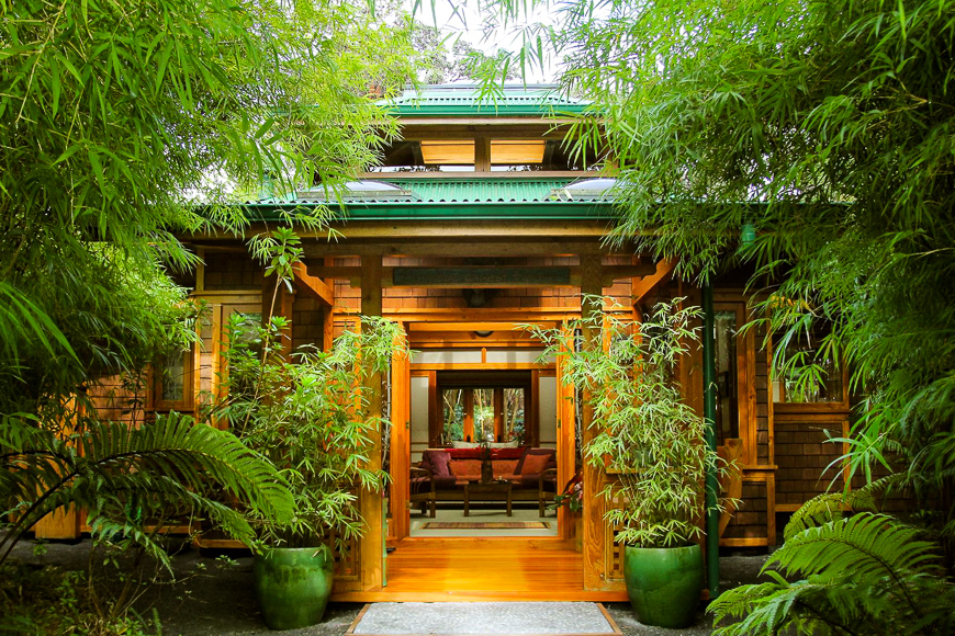 Volcano Rainforest Retreat exterior view of lush forest entrance