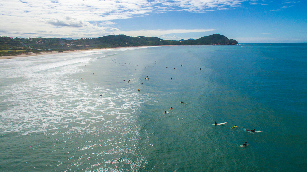 beach of Rosa - Garopaba - Santa Catarina - Brazil - Drone Aerial Photo