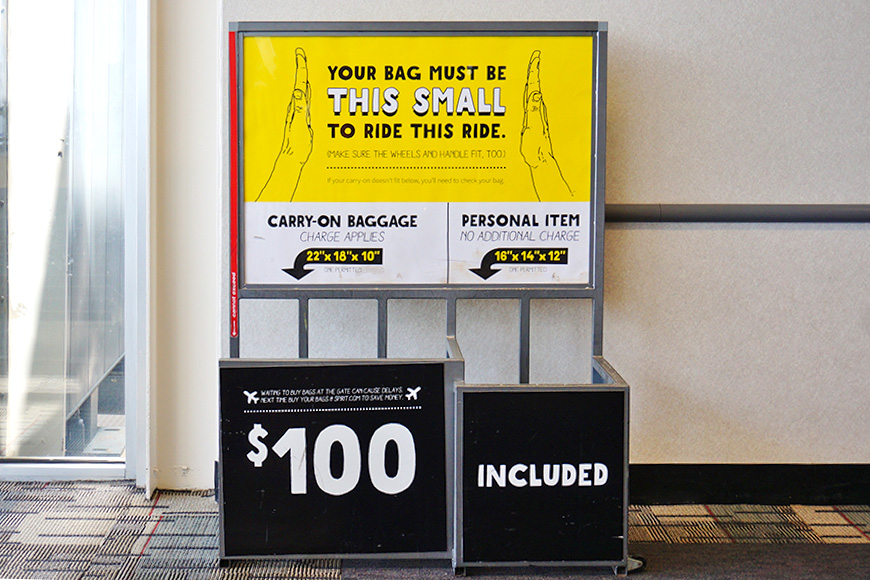 Cary-on bag measurements in airport for Spirit Airlines