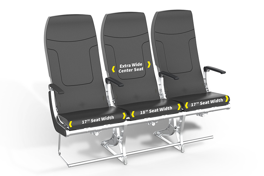 Extra wide center seat middle seat on Spirit Airlines