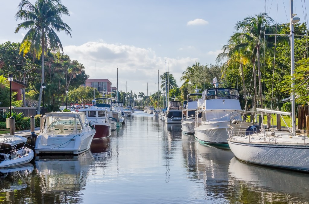 canals with large boats in florida
