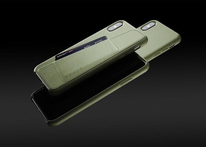 MUJJO full-leather wallet iPhone case in green.