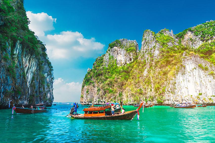 boat in pileh lagoon phuket.