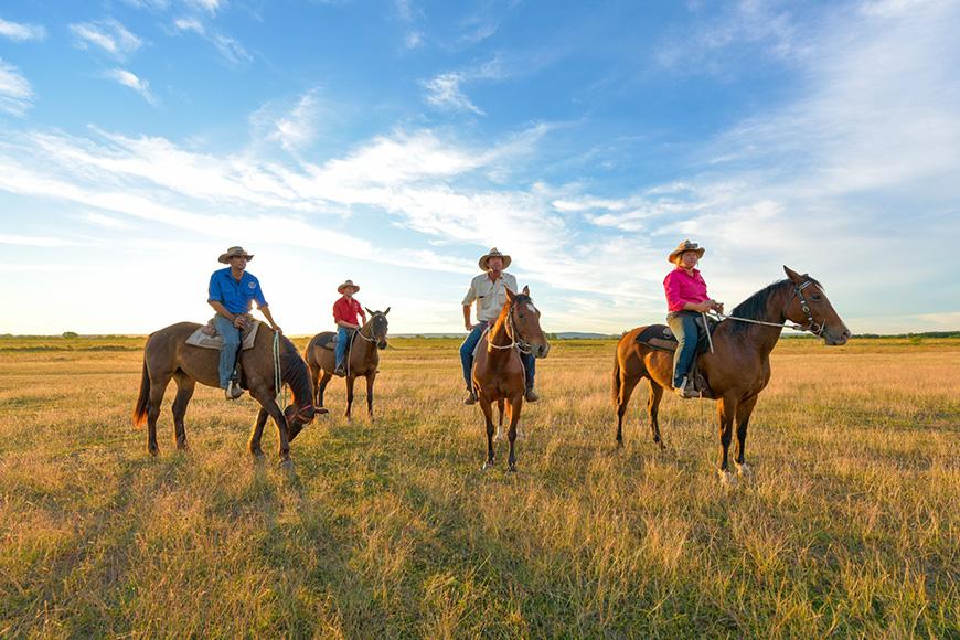 Bullo River Station people on horseback