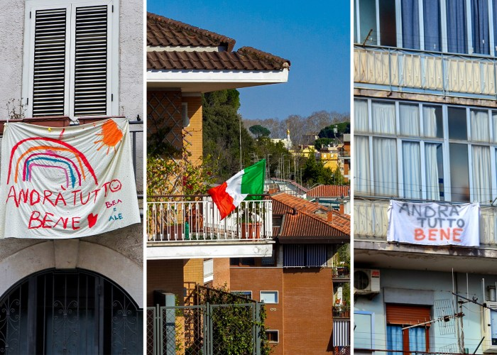 Italy balconies showing hopeful signs and italian flags in supports of medical workers