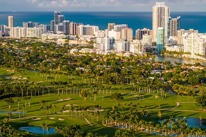 aerial view of miami beach golf club.
