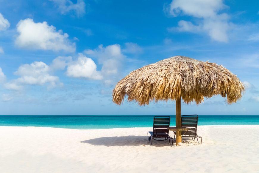 Straw umbrella Eagle Beach Aruba.