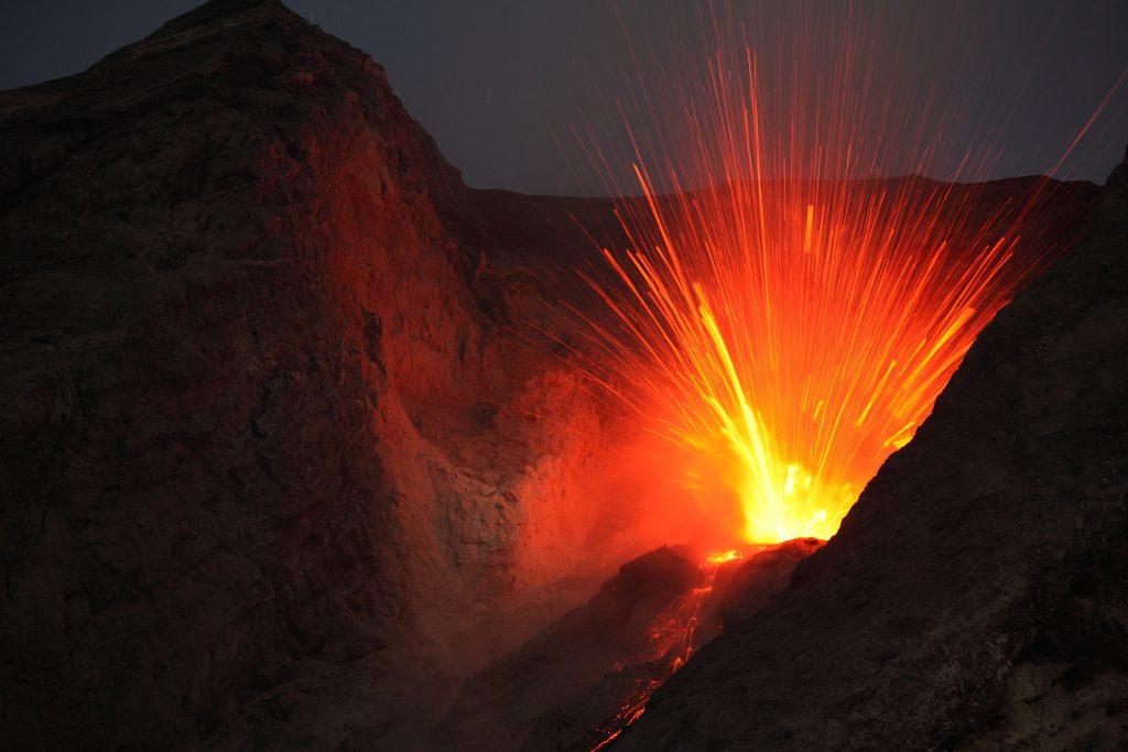 bright volcano explosion