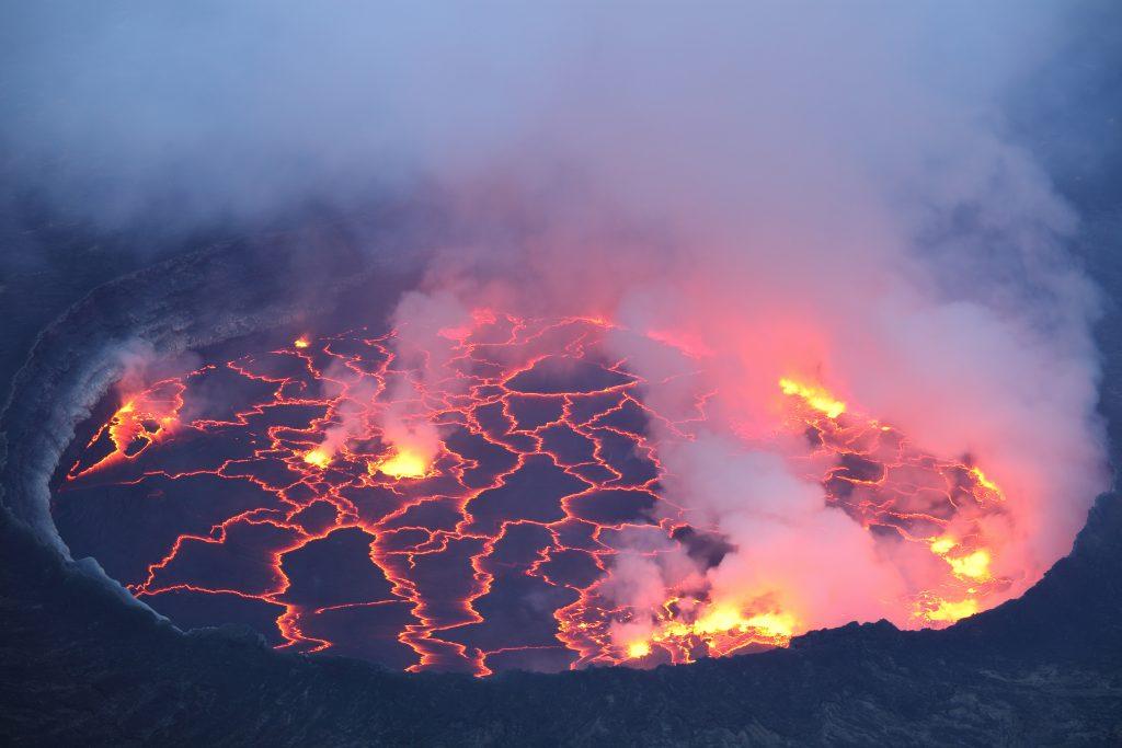 bubbling lava lake