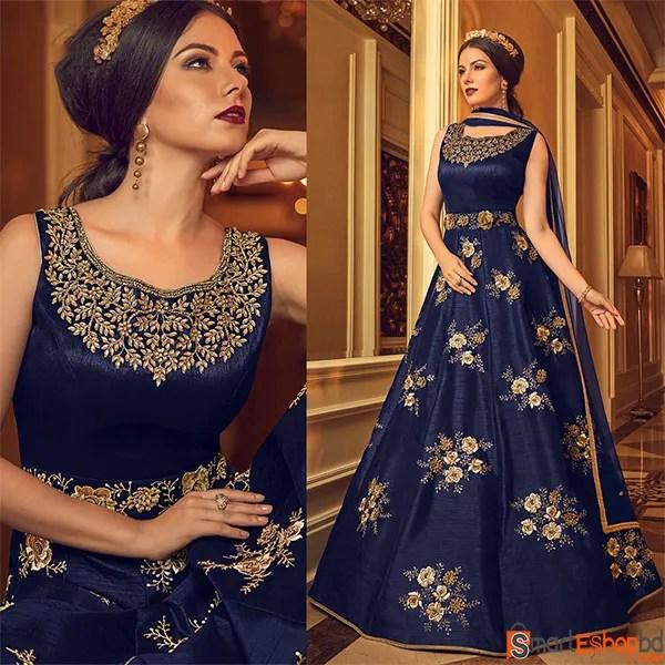 Buy Silk Embroidered Navy Blue Anarkali Suit BD