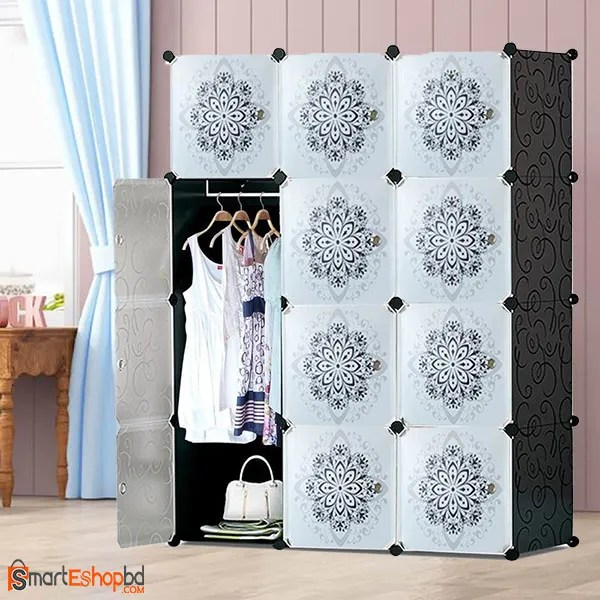 Flower design Portable plastic Wardrobe