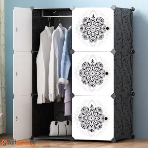 6 Cube Flower Design Portable Plastic Wardrobe