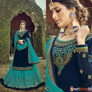 Wedding Wear Embroidered Razzo Traditional Semi Stitched Skirt Suit