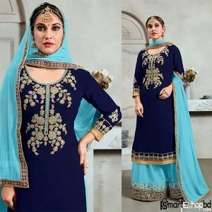 Blue Georgette Punjabi Sharara suit with Long Kameez