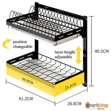 High Quality 2 Tiers Black Stainless Steel Wall Mounted Dish Drainer Drying Rack