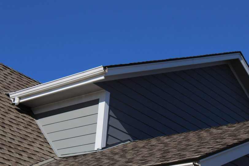Siding next to roofline
