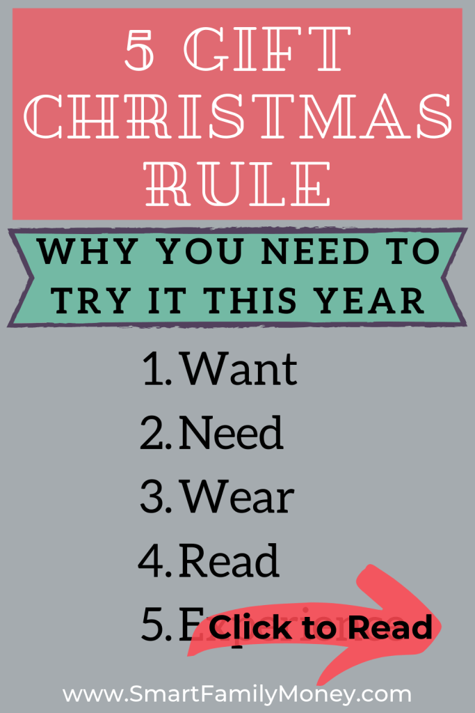 5 Gift Christmas Rule: Want, Need, Wear, Read, ???